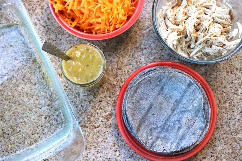 Ingredients for Blue Corn Green Chile Chicken Enchiladas