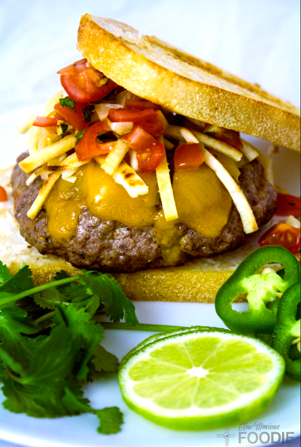 The Best Homemade Green Chile Cheeseburger | NewMexicanFoodie.com