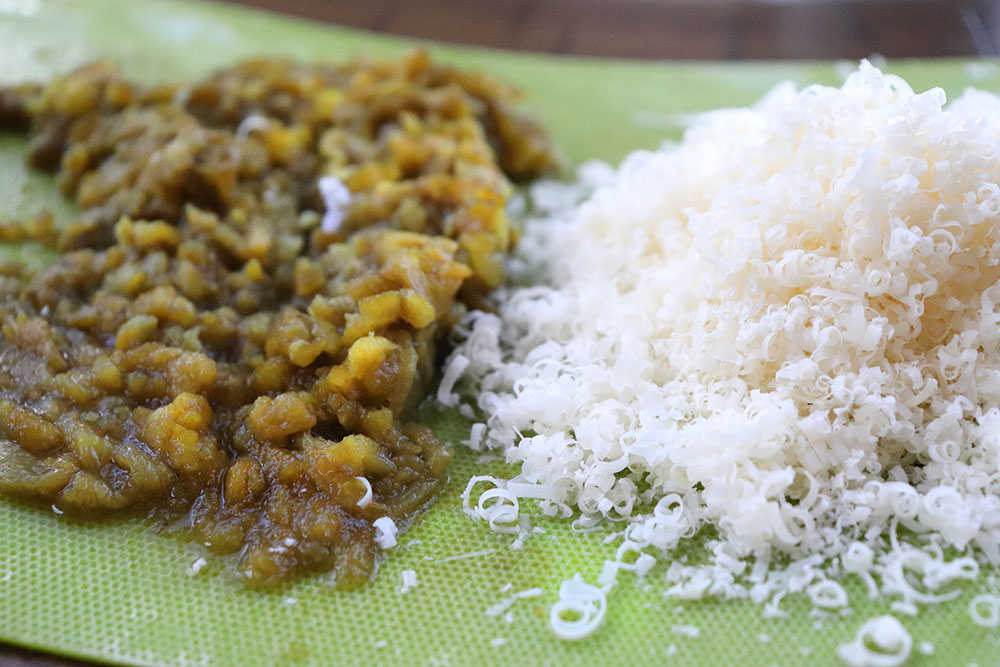 Green chile and shredded parmesan cheese