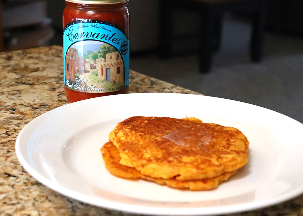Pancakes made with New Mexican Red Chile