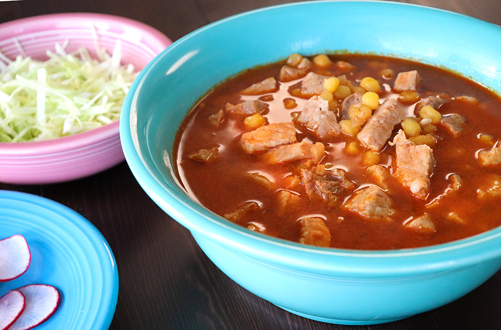 Homemade Pozole with a Red Chile Sauce
