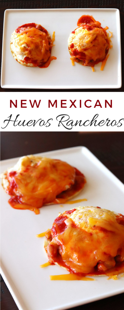 New Mexican Huevos Rancheros made with red chile sauce.