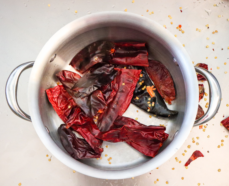 red chile pods in a pot