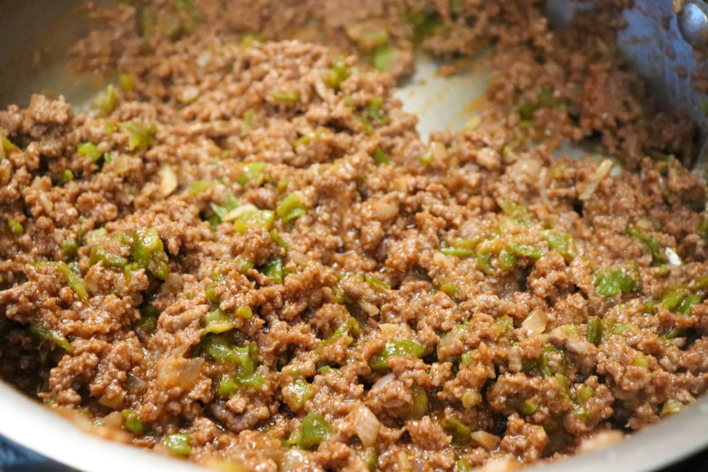 Close up picture of the filling of green chile sloppy joes