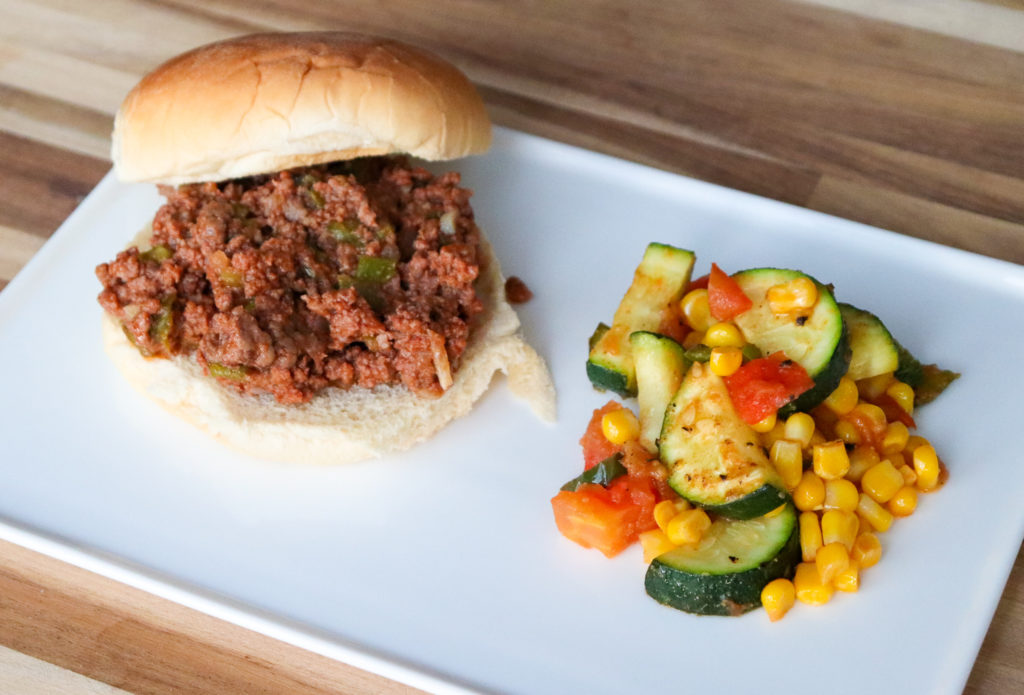 Green chile sloppy joes with a side of calabacitas