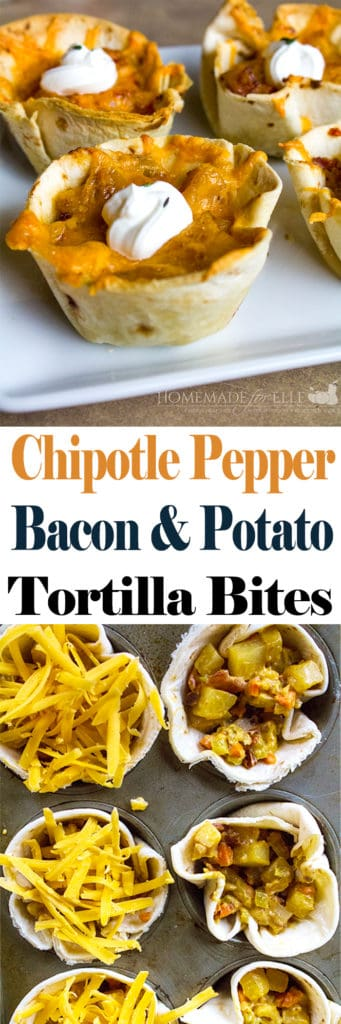 Tortilla Cups with Potatoes, Bacon, and Chipotle Peppers