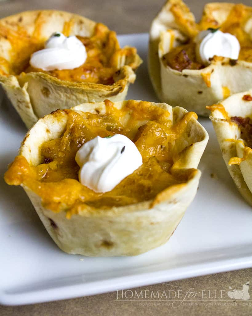 Stuffed Tortilla Cups with Potatoes and Bacon