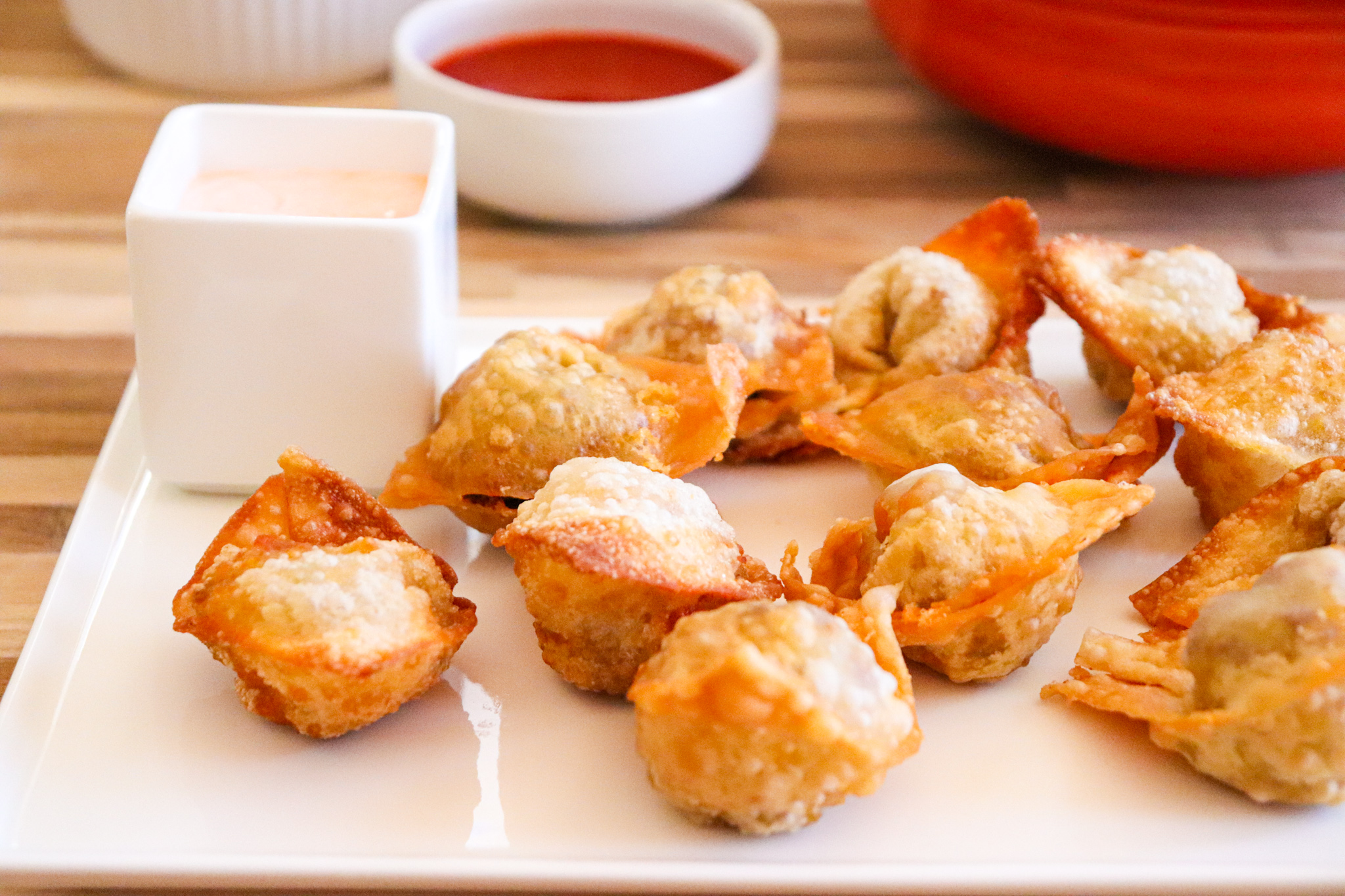 Enchilada Wontons (with red chile & beef)